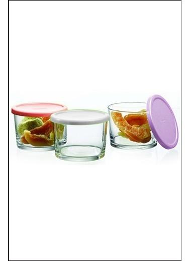 Kitchen Love Kitchen Love 3'lü 6 cm Renkli Kapaklı Cam Saklama Kabı Renkli